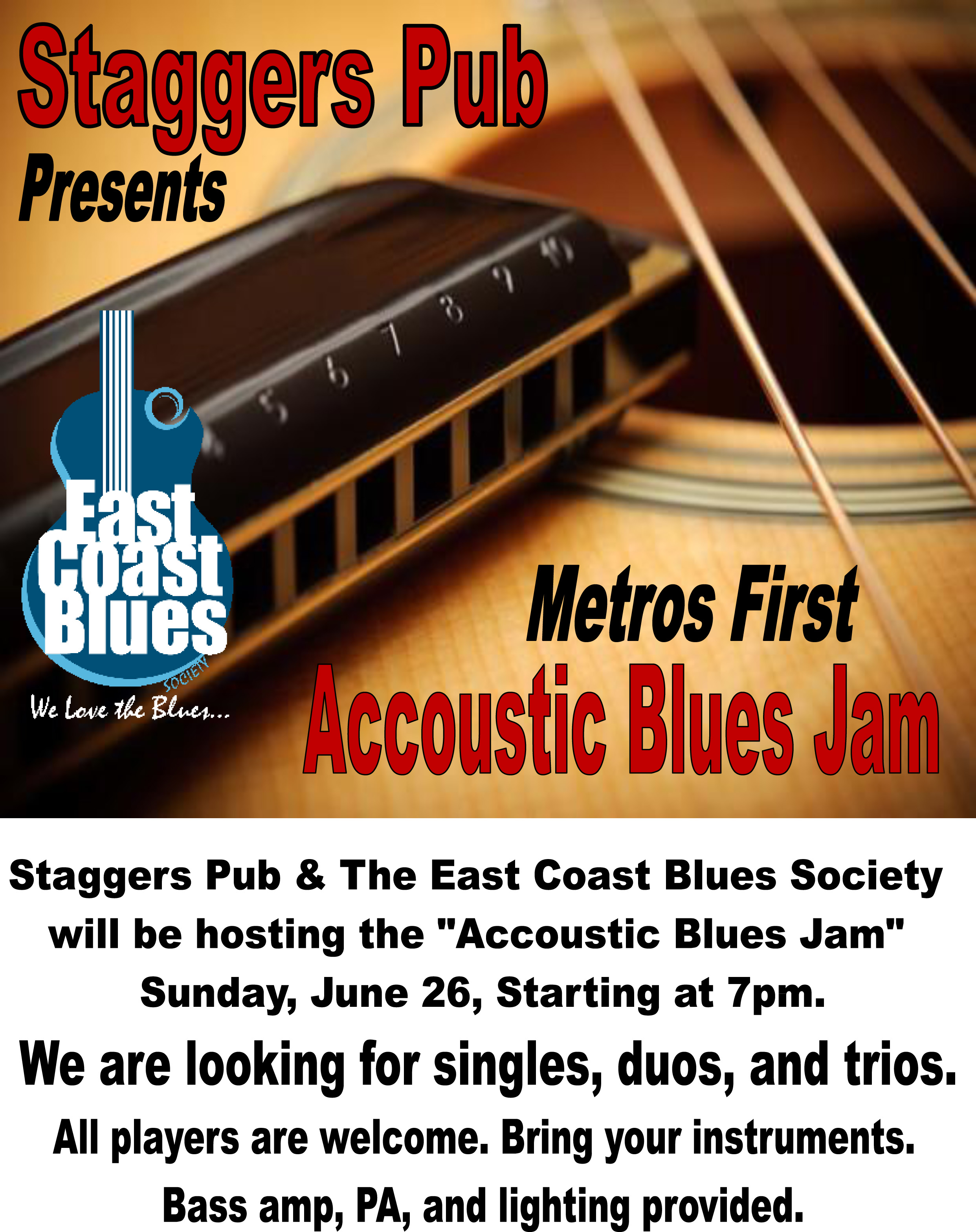 ECBS presents Acoustic Blues Jam on June 26 at 7pm at Staggers Pub in Dartmouth. Host: Mark Raven