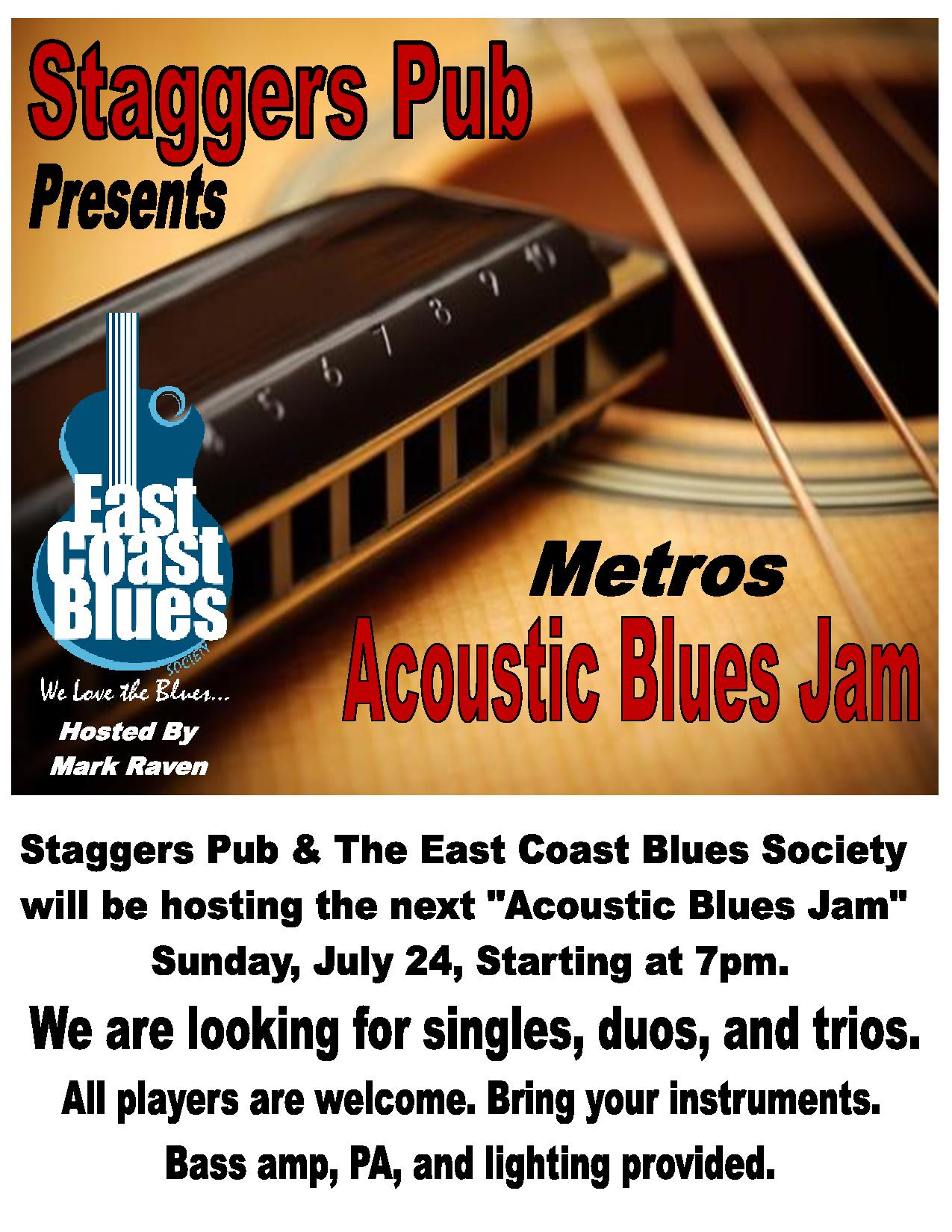 Acoustic Blues Jam at Staggers in Dartmouth, July 24 at 7pm