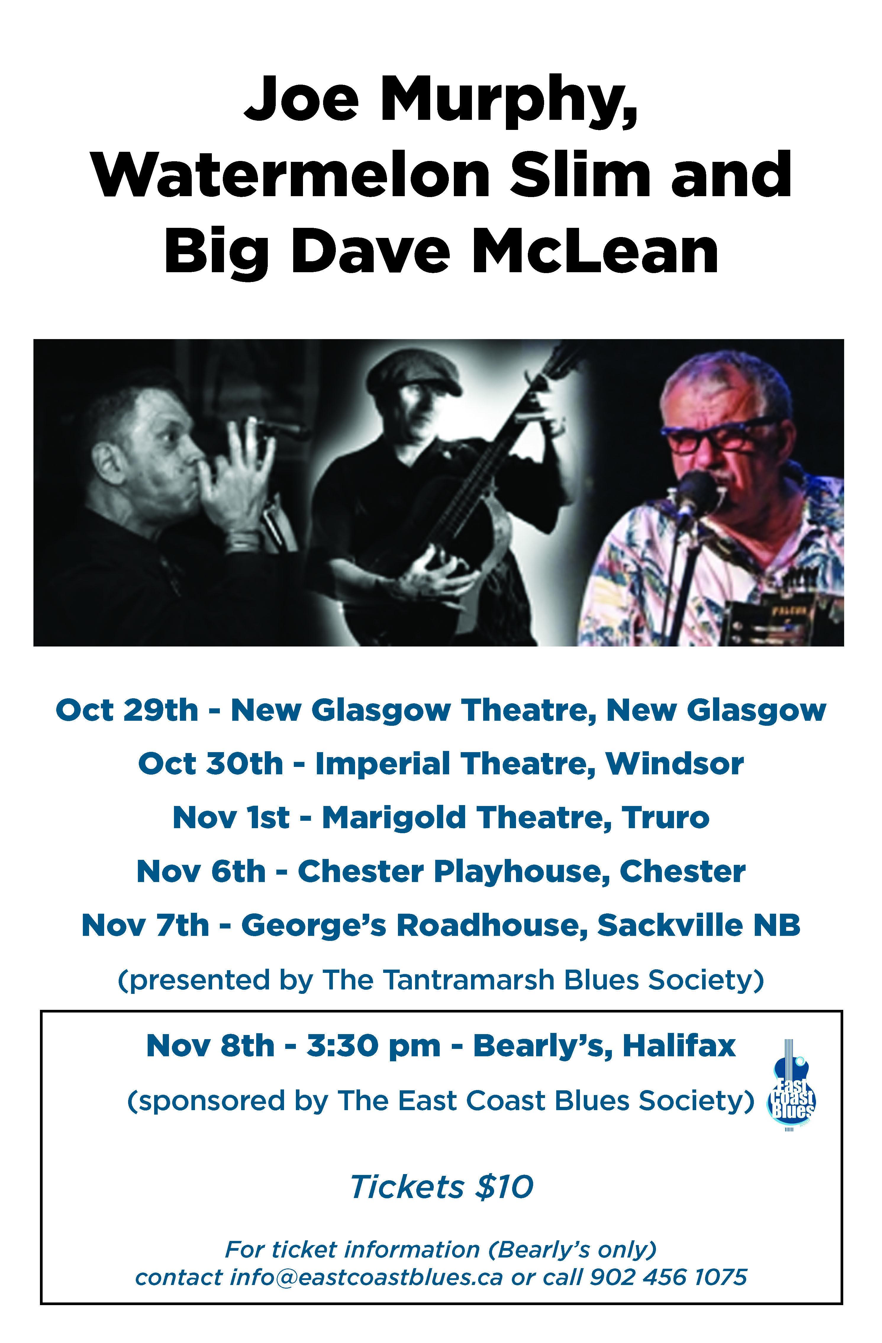 Joe Murphy, Big Dave McLean, and Watermelon Slim tour dates