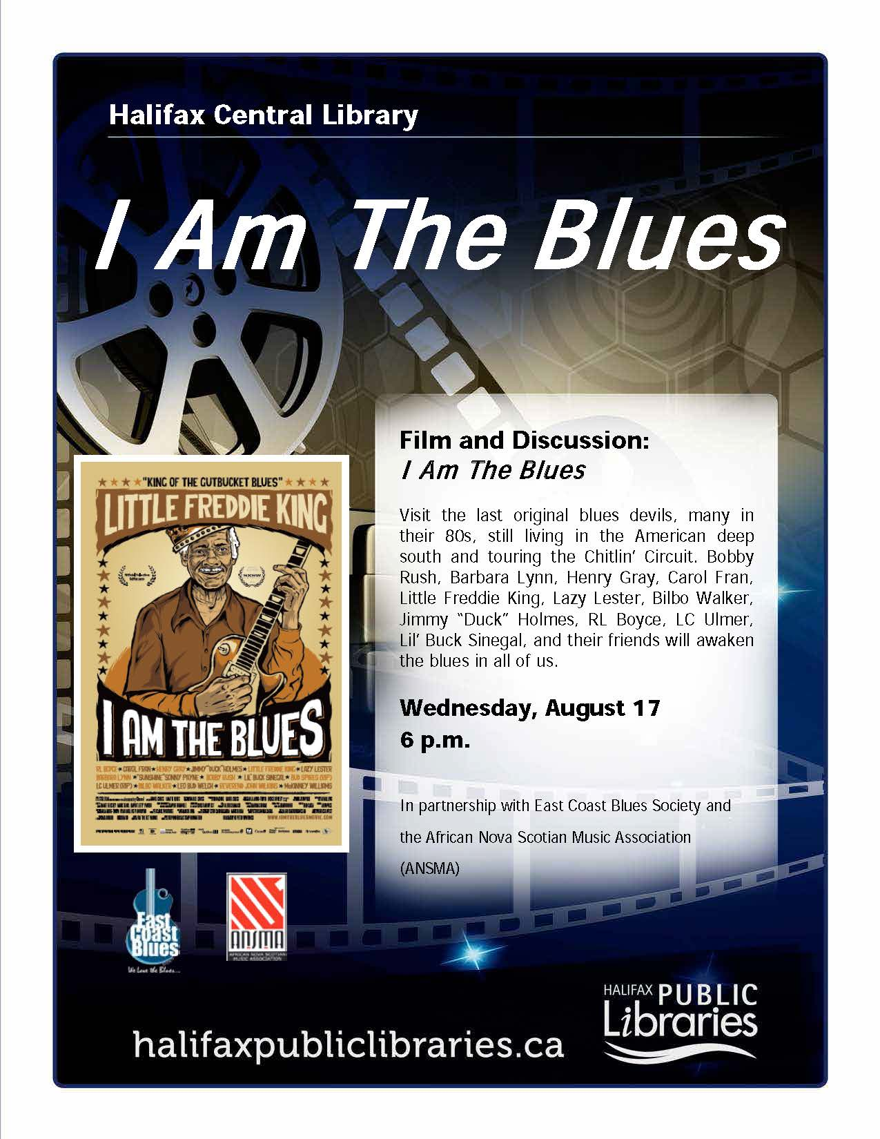 I am the blues, Halifax Central Library, Wednesday 17 at 6pm