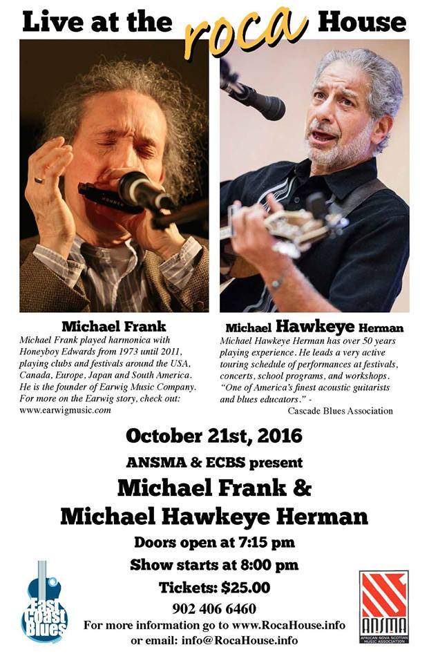 Michael Frank and Michael Hawkeye Herman at ROCA house October 21 at 8pm